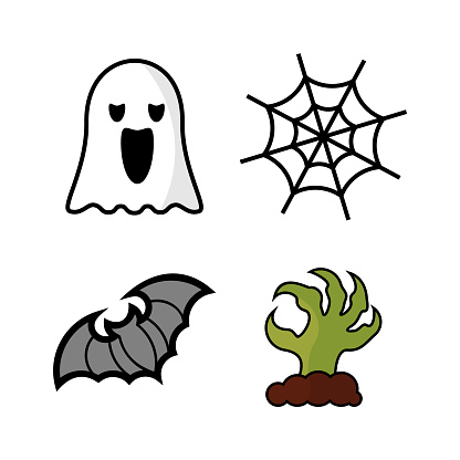 Set of Halloween Design Icon Vector isolated. Template Illustration